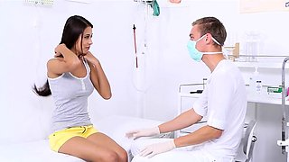 Horny doctor is playing smutty with his depraved patient