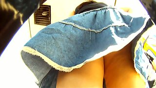My amateur upskirt video of a brunette teen