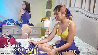 Cheerleader girls Hazel Heart and Remi Jones having funny lesbian sex