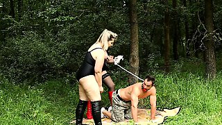 Anal male slave domination and facesitting outdoors