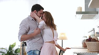 Amazing hottie Kastiel Cherry feels right about riding sloppy cock