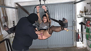 Horny hot wet milf fisted in the garage