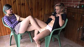 Girls Out West - Cute girls lick each others hairy pussy