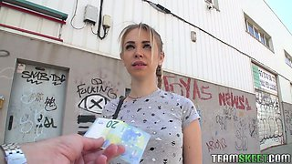 Cute teen Arteya shows her tits and fucks for money