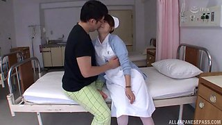 Japanese nurse takes off her panties and opens legs for a quickie