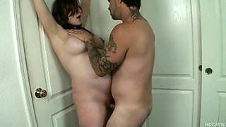 Pregnant milf pushed against wall