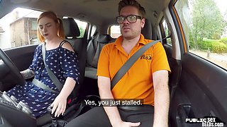 Curvy ginger publicly riding british driving teacher in car