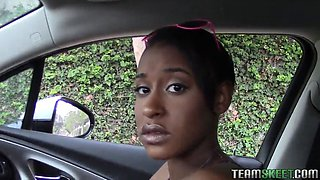 Shaved black babe with a massive clit gets drilled
