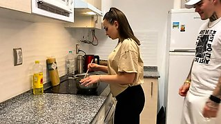 Sexy brunette with a fabulous ass gets fucked in the kitchen