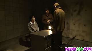 Naughty Asian women in prison camp with shaved pussy nailing