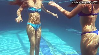 Mia Ferrara And Mia Lina - Hot Girls Underwater In The Pool Mia And Lina