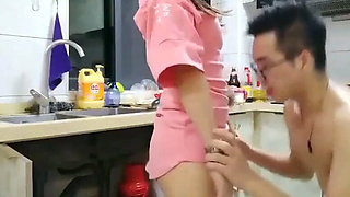 Chinese Fuck in kitchen while mom is at home