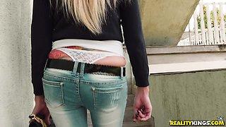 Tattooed Gina in jeans ravished hardcore missionary in ffm
