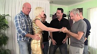 Cock hungry mature woman gets five hard dicks to fuck and