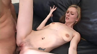 AMWF Amy Quinn USA Woman Blonde Small Thin Cowgirl Interracial Sex Blowjob For Get Money In Sofa Chinese Old Man