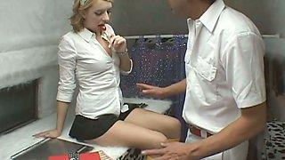 Adorable blonde girl Lexi Belle fucks a horny guy in a fuck bus
