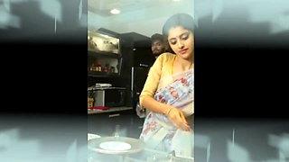 Couple romance in kitchen